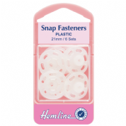 Hemline Snap Fasteners - Opaque White - 21mm